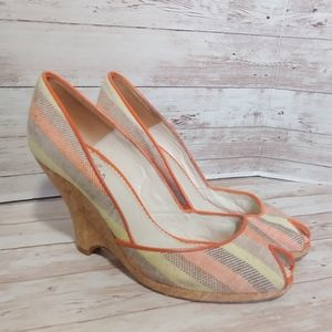 Anthro Maloles striped vintage inspired heels